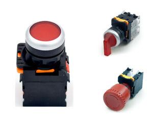 Druck- Dreh- Taster Schalter Ø 29mm Öffner Schließer beleuchtet Not-Aus 380V 10A