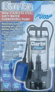 CLARKE HEAVY DUTY STAINLESS STEEL DIRTY WATER SUBMERSIBLE PUMP 900w PSSV2A