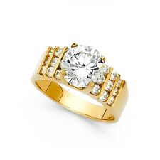 14k Yellow Gold Big Solitaire CZ Engagement Ring Anniversary Round CZ Wide Band