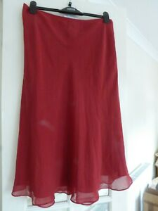 Monsoon Silk Spot skirt size 16 Scarlet