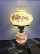 """VINTAGE GONE WITH THE WIND  3-WAY PINK ROSES FLORAL HURRICANE LAMP 20"""""""