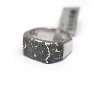 NWT DAVID YURMAN Men's Fused Meteorite & Silver 3 Sided Signet Ring Size 12