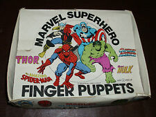 Vintage Marvel Super Hero Finger Puppets Full Display Box Rare Marvelmania 1978