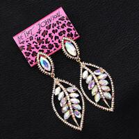 Betsey Johnson AB Crystal Feather Leaf Dangle Eardrop Wedding Earrings Gift