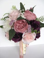 17 piece set Wedding Bouquet Bridal Silk Flowers Bouquets MAUVE PLUM PINK BLUSH