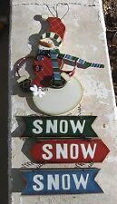 Wooden Snowman Wall/Door Hanging Snow Sign So Cute