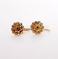 14k Yellow Solid Gold Earrings. Floral Ruby Gemstone Setting, French Earwire