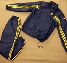 Adidas Team Lined Nylon UCLA Athletic Wind Jogging Track Suit Pants Jacket - S/M