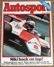 Autosport 8/4/82* US GP WEST - HOCKENHEIM F2 -TWR ROVER SD1 POSTER -DONINGTON F3
