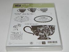 Stampin Up Tea Shoppe CLEAR Mount Stamp Set 10 Cup of Thanks Coffee Tea