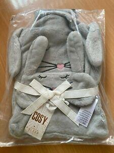 Debenhams  Grey Fleece Bunny Hot Water Bottle And Eyemask Set bnib