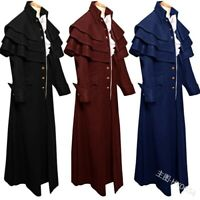 Men's Medieval Steampunk Frock Coat Retro Gothic Victorian Winter Mid Jacket New