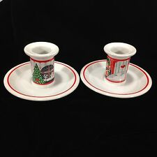 Pair of Epoch 'Twas The Night Before Christmas Candle Holder Noritake Collection