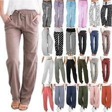 Women Elastic Waist Baggy Stripe Pants Casual Wide Leg Gym Yoga Loose Trousers