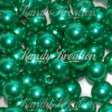10mm Dark Green Acrylic Round Pearl Spacer Beads for Bubblegum Bracelet Necklace