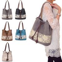 Women Lady Casual Canvas Shoulder Bag Purse Messenger Tote Flower Print Handbag