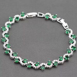 Beautiful Green & Silver Rhinestone Bracelet Made With Swarovski Crystals