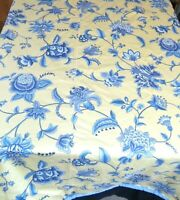 "Round Tablecloth 92"" Antique Floral Reversible Cotton Blue Yellow"