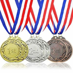 6-Piece Set Olympic Style Award Metal with Ribbons in Gold, Silver, and Bronze