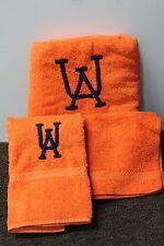 3-SET AUBURN BATH TOWELS University Hand Washcloth Orange Cannon Alabama NEW