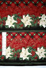 Christmas Fabric - Wide Metallic Poinsettia Holly Stripe Timeless Treasures 28""