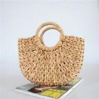 Women Retro Wicker Handbag Bags Totes Beach Summer Straw Woven Rattan Basket Bag