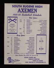 >Old 1965 SOUTH EUGENE AXEMEN High School BASKETBALL SCHEDULE SIGN/Broadside