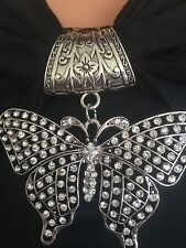 Scarf Charm Butterfly Diamond Beaded Silver Black Designer Fashion J Francis Hip