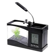 USB Rechargeable Plastic Mini Small Fish Tank Black Q3B7 P8B1