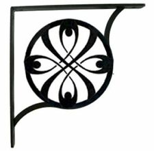 """Wall Shelf Bracket Pair Of 2 Ribbon Pattern Wrought Iron 5.25"""" L Crafting Accent"""