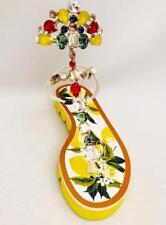 Dolce & Gabbana Crystal Embellished Sandals Flats UK4 EU37rrp790GBP