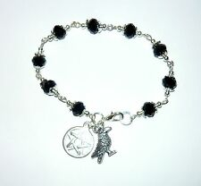 PAGAN GODDESS - black sparkly bead bracelet with pentacle & raven charms