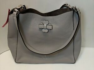 NWT KATE SPADE Medium Triple Compartment Shoulder Purse Bag Leather Soft Taupe