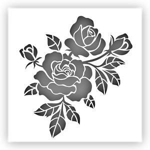 "Rose #3 Flower Stencil Template Reusable Plastic (Sizes: 6"" 9"" 12"")"