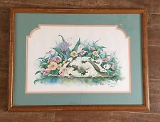 18x24 Don Kent Rabbit in flowers print 1991 LE of 500 picture easter bunny frame