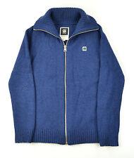 g-star raw Raw Correct Deep Blue Zip Front Wool Blend Cardigan Small Slim Fittin
