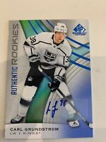 2019-20 Upper Deck Sp Game Used Hockey Carl Grundstrom Authentic Rookie Auto