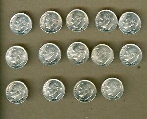 Fourteen Different UNC Roosevelt Silver Dimes