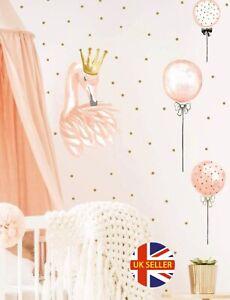 Large Peach Princess Flamingo Wall Stickers Girl Room Decal Baby Nursery Decor