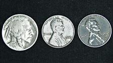 Indian Head Buffalo Nickel + (2) 1943 Steel Wheat Penny Lot - Old US Coins