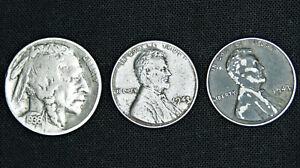 Buffalo Head Nickel + (2) 1943 Steel Wheat Penny Lot - Old US Coins