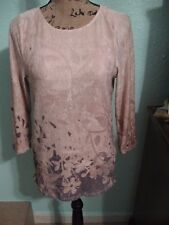 COLDWATER CREEK, WOMEN'S Tan/Brown Poly 3/4 Sleeved Floral Career Bls, Size S