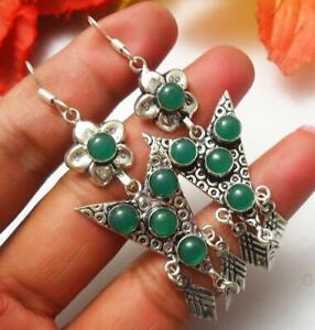 Green Onyx Gemstone Dangle Earrings 925 Silver Overlay U221-A23
