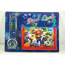 NEW Super Mario Brothers Children's Wrist Watch & Purse Wallet Set For Kids Boys
