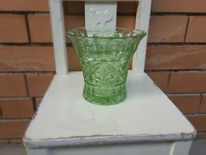 Green depression glass vase Crown !