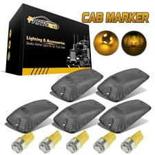 5x Smoke Roof Cab Marker Light Lens w/ Amber LED for Chevy GMC Trucks 1988-2000