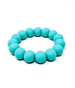 Turquoise Silicone Chew Biting Bracelet Baby Teething Teether Bangle Chewy Beads