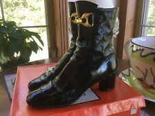 Vintage Ankle Boots Mod sja Rig Black Patent Leather Buckle Zip Up 6.5 N w/Box