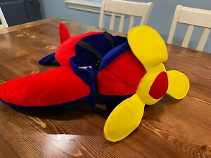 Kids Airplane Costume Wearable Step-in w/Straps Red/Blue Gently Used