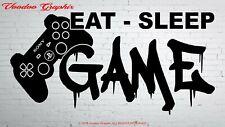 Boys Girls Bedroom Wall Sticker Eat Sleep Game Gaming Gamer Decal